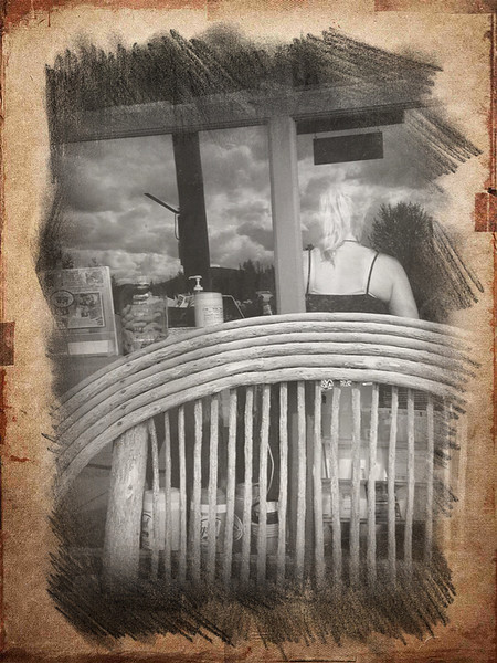 At Polebridge Mercantile I sat on the porch to eat a huckleberry bearclaw pastry.  Delish! This young woman was running the cash register and Square. An iPhone app did the rest.  September, 2014.