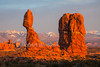 Sunset, Balanced Rock, Arches National Park, Utah, USA, North America