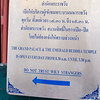 We took a water taxi to the Royal Palace, one of the gems of Bangkok. Unfortunately there are lots of scams being played on tourists, which this signs warns visitors about.
