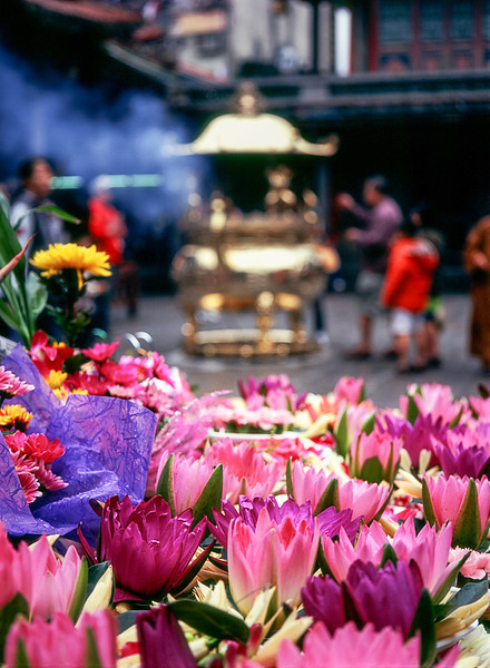 Flower Offerings At Lungshan Temple