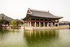 The Gyeonghoeru Pavilion in the Gyeongbokgung Palace complex is used as a banquet hall. It sits in the middle of a small lake and is connected to the rest of the palace by a small bridge.