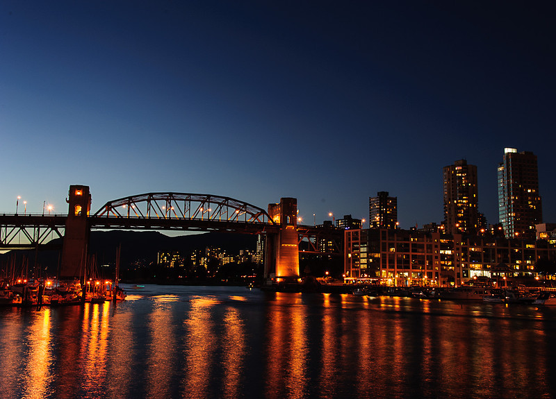 English Bay at night from Granville Island