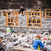 New house contruction, Langtang village, Nepal.