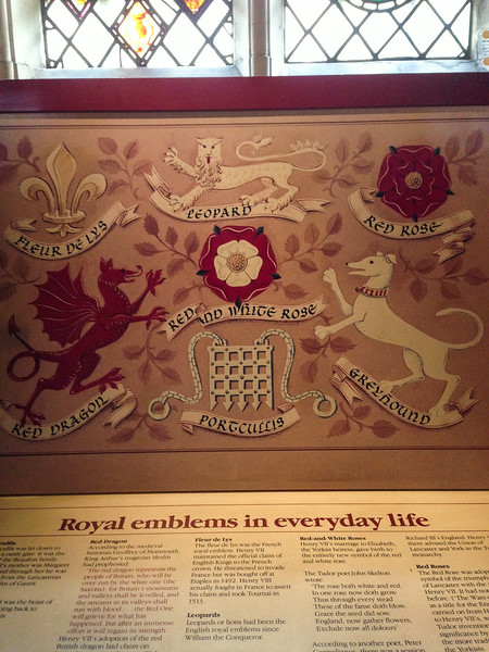 Royal emblems in everyday life.  Kings College Chapel at Cambridge University.  UK Vacation 2014-07-08