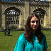 Lexie keeping off the grass at Kings College, Cambridge University.  UK Vacation 2014-07-08