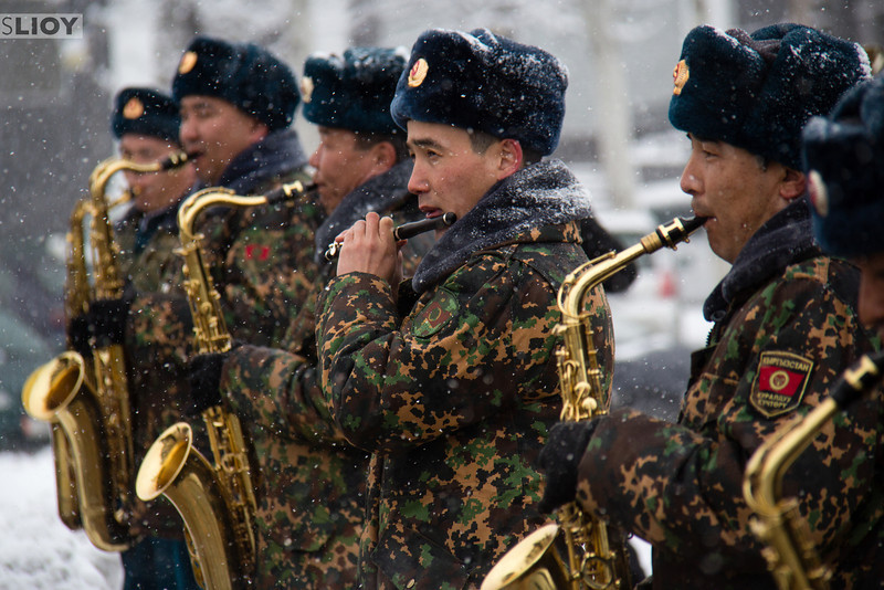 The Kyrgyzstan Military Band, playing like champs in decidedly wintery weather.  'Defenders of the Fatherland Day' celebrations in Bishkek.