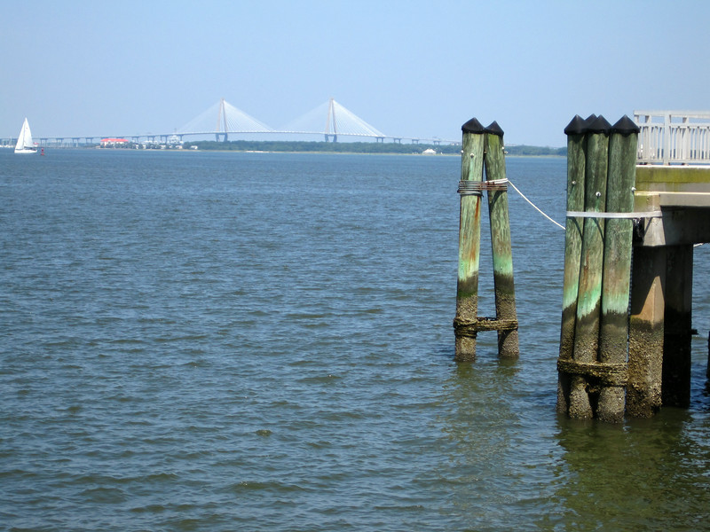 Fort Sumter pier and Arthur Ravanel Jr Bridge