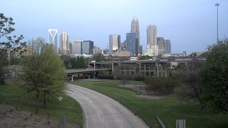 charlotte city skyline in the morning spring