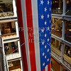 US Flag hangs several floors at a Chicago shopping mall.
