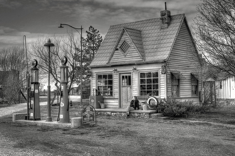 Phillips 66 filling station in the faux town of Red Oak Two, near Carthage Missouri.