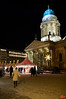 This is the Gendarmenmarkt, sight of one of the larger Christmas Markets in Berlin. It is bordered by two Cathedrals - the German Cathedral is shown in the picture. They were lit up with coloured lights at night. IMG_5813