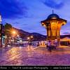 Europe - Bosnia and Herzegovina - Sarajevo - Сарајево - Capital city - Historic centre - Bascarsija district - Sebilj - Moorish style wooden fountain (Sebil) in the centre of Baščaršija square