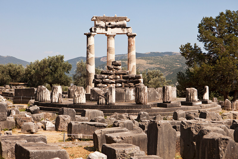 The ruins of the Sanctuary of Athena at Delphi are located around the circular central portion of the temple.
