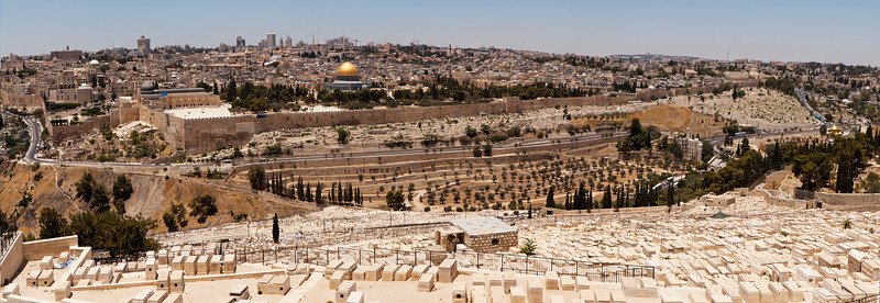 A panoramic view of the Old City of Jerusalem from the Mount of Olives. The old city wall, the Dome of the Rock, and other landmarks are all visible from this location.