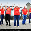 UK - Northern Ireland - County Derry - Londonderry - Old walled city on the west bank of the River Foyle - Derry's Walls Day - Wave on the Walls - Continuous red line of 1,111 local volunteers wearing specially designed t-shirts along the top of the ramparts