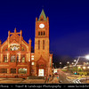 UK - Northern Ireland - County Derry - Londonderry - Old walled city on the west bank of the River Foyle - Guildhall - Neo-gothic style city hall is one of the most striking buildings in the North West and was originally built in 1887 by The Honourable The Irish Society