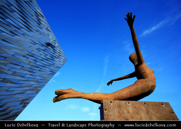 Europe - UK - Northern Ireland - Belfast - Béal Feirste - Capital of NI along river Lagan - Abhainn an Lagáin - Titanic Belfast - Iconic building shaped like ship bows - 4 floors to travel through time from Titanic creation to its tragic end