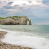 View of the arch cliffs from the beach of Etretat in Normandy, France