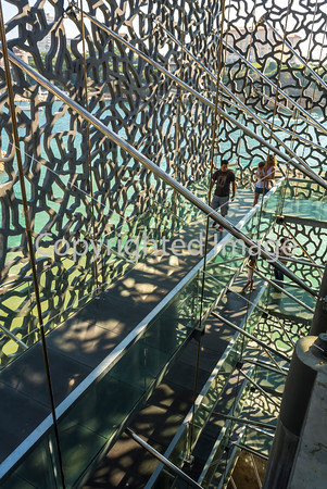 "Marseille, France, Modern Architecture , MUCEM Building, ""Musée des Civilisations de l'Europe et de la Méditerranée"", South of France  , Roof Café (Credit Architect: ""Rudy Riciotti"")"