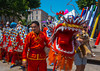 Marseille, France, Chinese Dragon Dance on Street, South of France