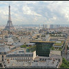The triumphantly unequal, class driven Paris from the top of the arch. Avenue d'Iena on the left and avenue Kleber on the right, and of course the Eiffel tower (324 m, 1063 ft).