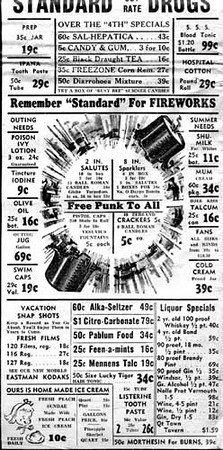 A 1938 Courier-Post advertisement for Standard Drugs in Hannibal. (C-P file newspaper)