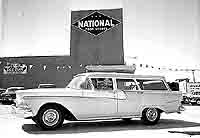 Part of the grand opening of the new National Foods store was a drawing for a brand new 1958 Ford Ranch Wagon from B & R Motors. Shown here is the winner, Harry W. Watts of 1304 Walnut St. May, 1958.  (C-P photo/Otis Howell, submitted by Steve Chou)