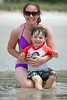 "Mommy and Jack sitting in the tidal pools (a.k.a. ""the little water"") on the beach in Sea Pines."