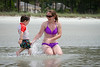 "Mommy and Jack in the tidal pools (a.k.a. ""the little water"") on the beach in Sea Pines."