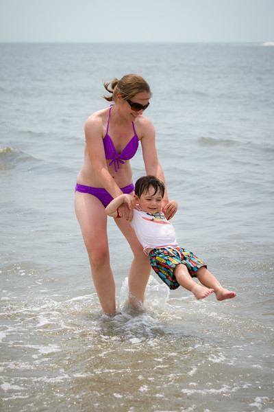 Mommy spinning Jack in the water at the beach in Sea Pines, Hilton Head Island, SC.