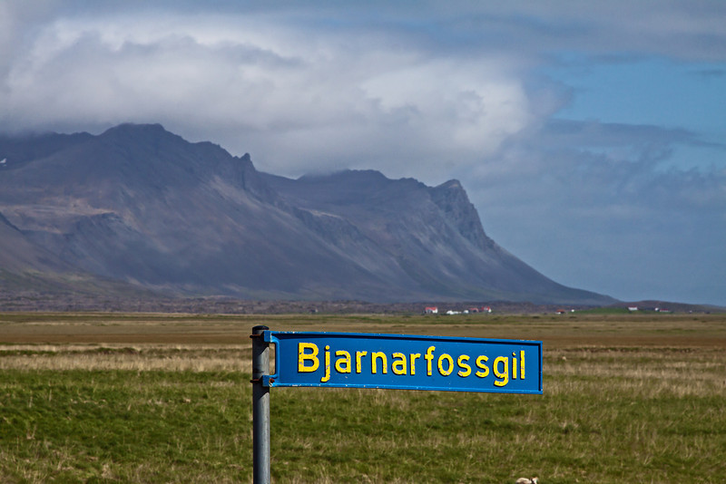 Marking the road to Bjarnarfoss . Snæfellsnes Peninsula, Iceland June 16, 2012