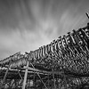 Cods dry on wooden stand, Lofoten, Norway