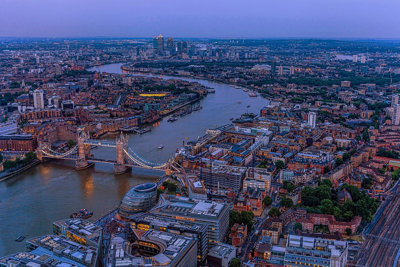 A view of Tower Bridge and London from the Shard Building