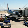 Parked airplane at Ontario Airport in California.
