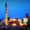 Turkey - Türkiye - Central Anatolia - Konya - Ancient Capital of Seljuk Civilization -  Mevlana Museum - Mevlana Müzesi - Green Mausoleum - Mausoleum of Jalal ad-Din Muhammad Rumi a Persian Sufi mystic Mevlâna - Rumi - Dervish lodge of the Mevlevi Whirling Dervishes - Sufism - Mystical branch of Islam