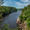 The Taylors Falls Princess navigates the Dalles of the St Croix River. View from the Pothole Trail (MN)