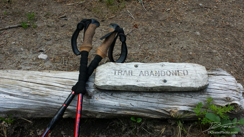 """Trail Abandoned"" sign in the Goat Rocks Wilderness."