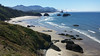 Haystack Rock and Cannon Beach, Oregon as seen from the Ecola State Park lookout.