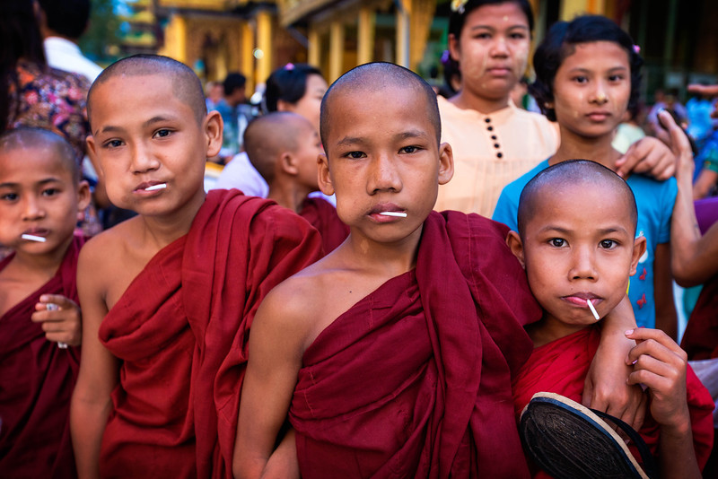 Group of novice buddhist monks at the Shwedagon Pagoda
