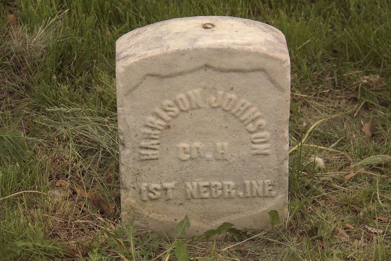 Harrison Johnson, Co. H, 1rst Nebr. Ine, was not enlisted until Lincoln changed the policy with the Emancipation Proclamation.    This is also the sole marker for his wife and their son and wife.