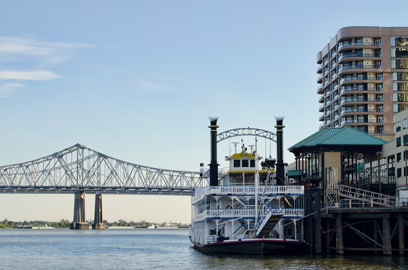 New Orleans Riverwalk area. Steamboat at dock.