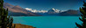 Panorama of Lake Pukaki looking towards Mount Cook.