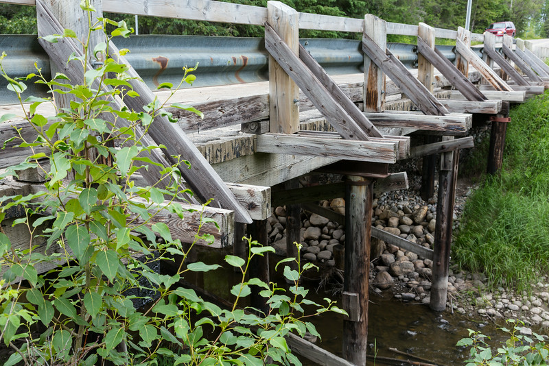 Small wooden bridge on highway 579 just before the Gardiner ferry.
