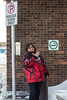 Timmins Airport. Denise smoking in Smoking Area.
