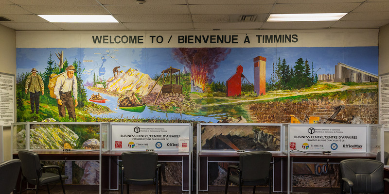 Welcome to Timmins mural at Timmins Victor M. Power Airport.