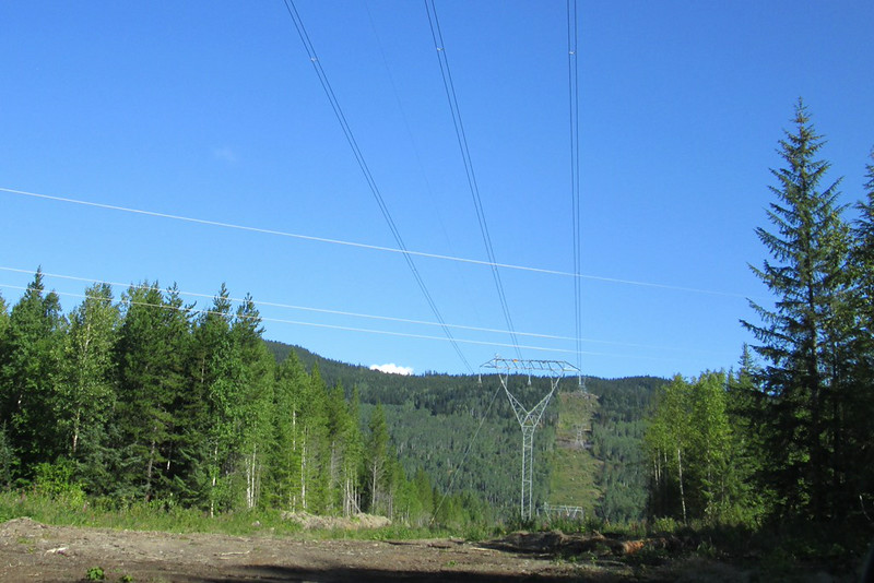 Two sets of power lines cross