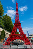 "Paris, France, Tourists enjoying Public Events, ""Paris Plage"", Urban Beach , Eiffel Tower Installation on Street, Made of Bistro Chairs"