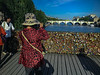 Paris, France, Tourists on Seine River Bridge, Pont des Arts with Love Locks