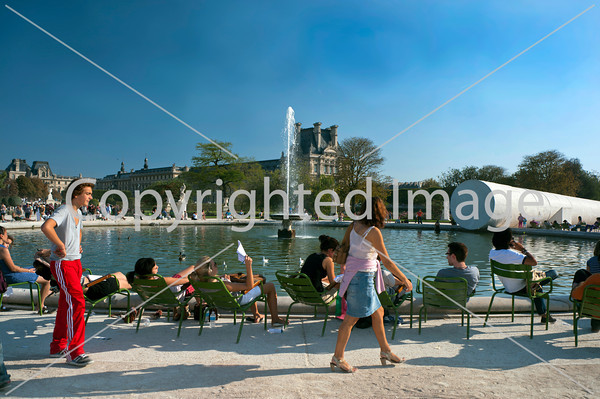 Paris, France, people Enjoying French Garden, Jardin des Tuileries , Modern Landscape Sculpture