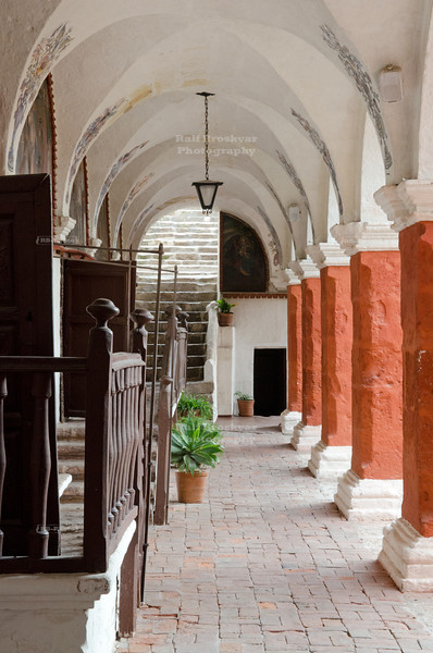 Colonnade in front of the five confessionals in Santa Catalina Monastery, Arequipa, Peru
